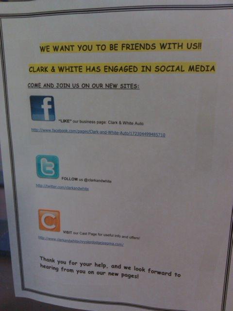 Clark & White Social Media Sign